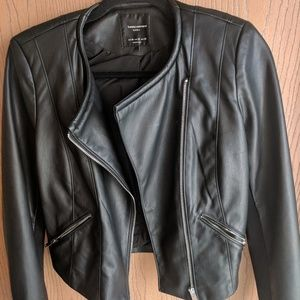 Zara Moto Biker Black Jacket Faux leather Medium